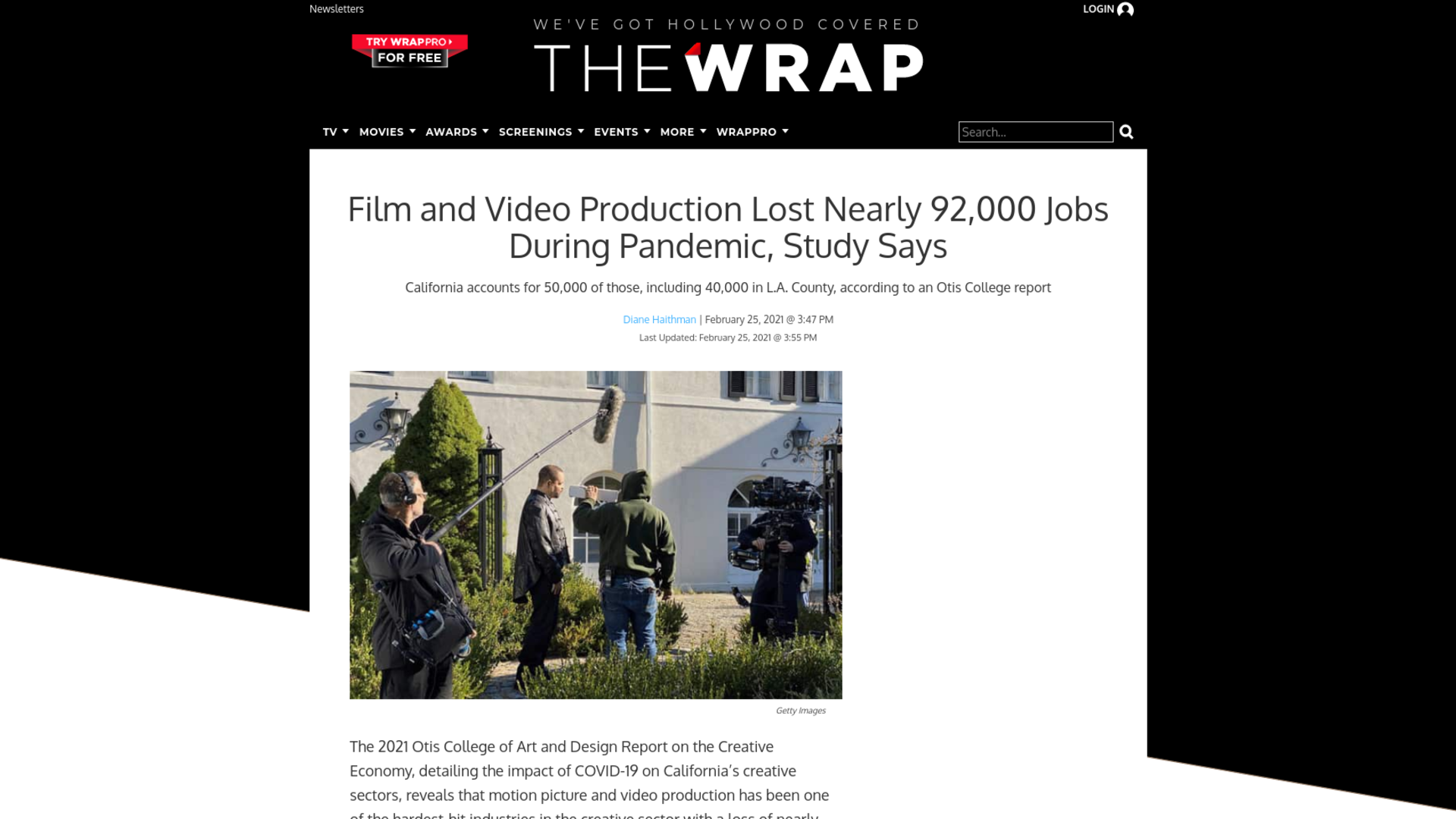 Fairness Rocks News Film and Video Production Lost Nearly 92,000 Jobs During Pandemic, Study Says