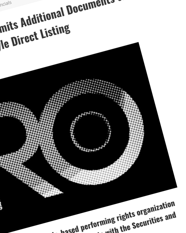 Fairness Rocks News It's Coming: Pro Music Rights Submits Additional Documents to SEC Ahead of Planned Spotify-Style Direct Listing