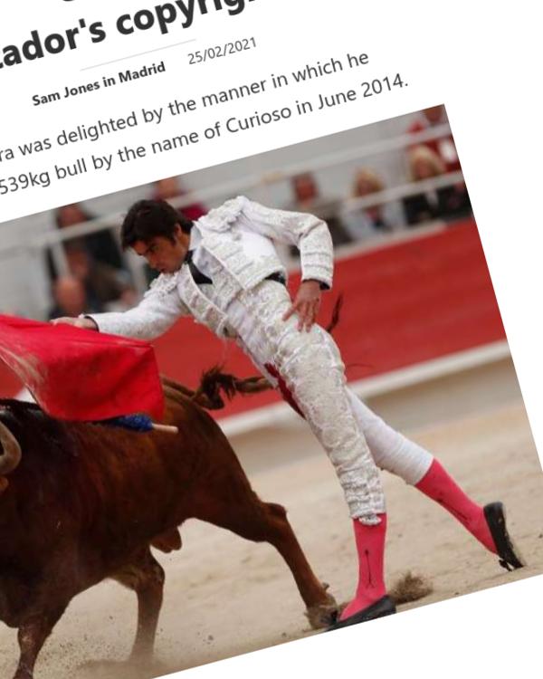 Fairness Rocks News Spanish court rejects matador's copyright claim over 'work of art'