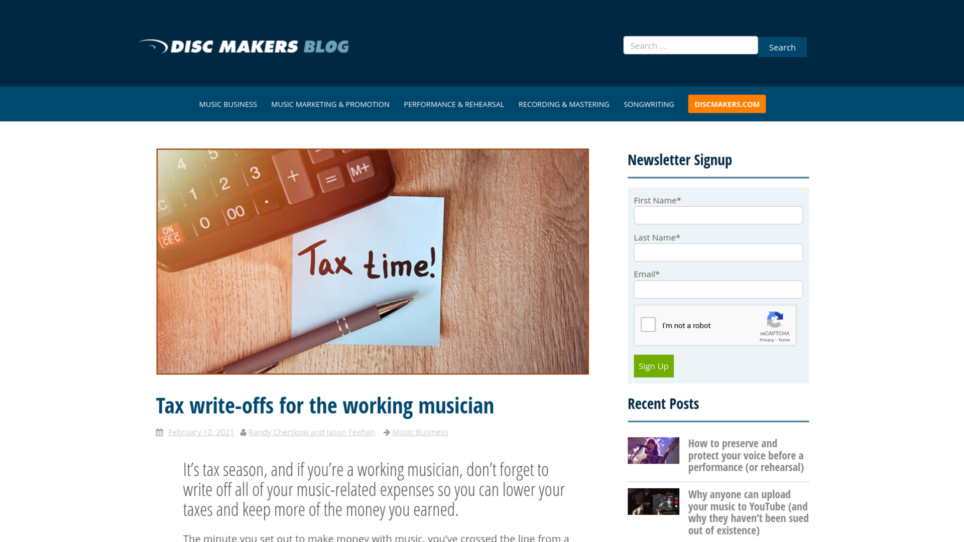 Fairness Rocks News Tax write-offs for the working musician