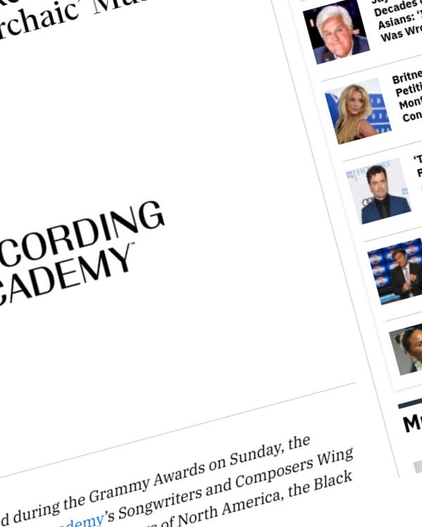 Fairness Rocks News Industry Groups Call on Recording Academy to Eliminate 'Archaic' Music-Publishing Provision