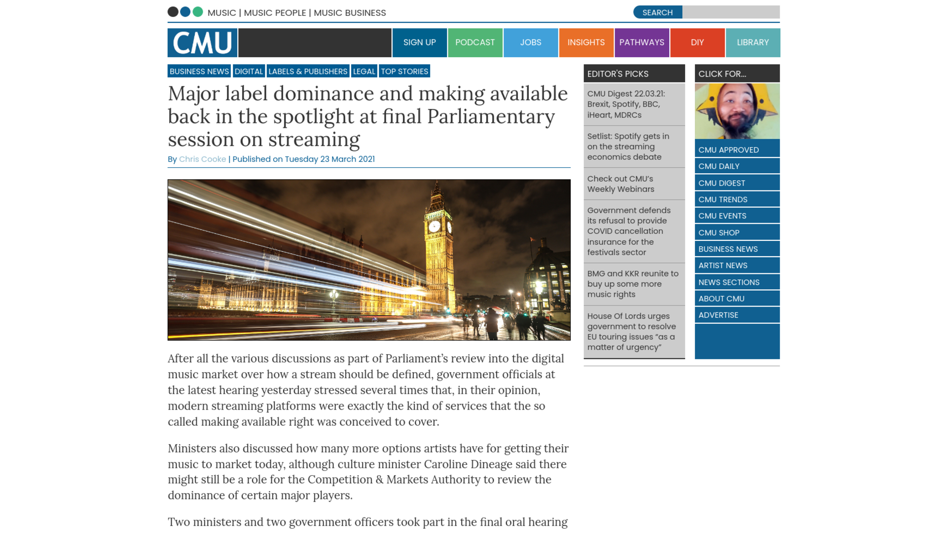 Fairness Rocks News Major label dominance and making available back in the spotlight at final Parliamentary session on streaming