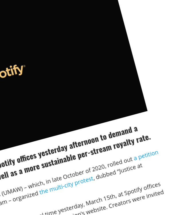 Fairness Rocks News Musicians Protest Outside Multiple Spotify Offices for Better Payments, Sustainable Income