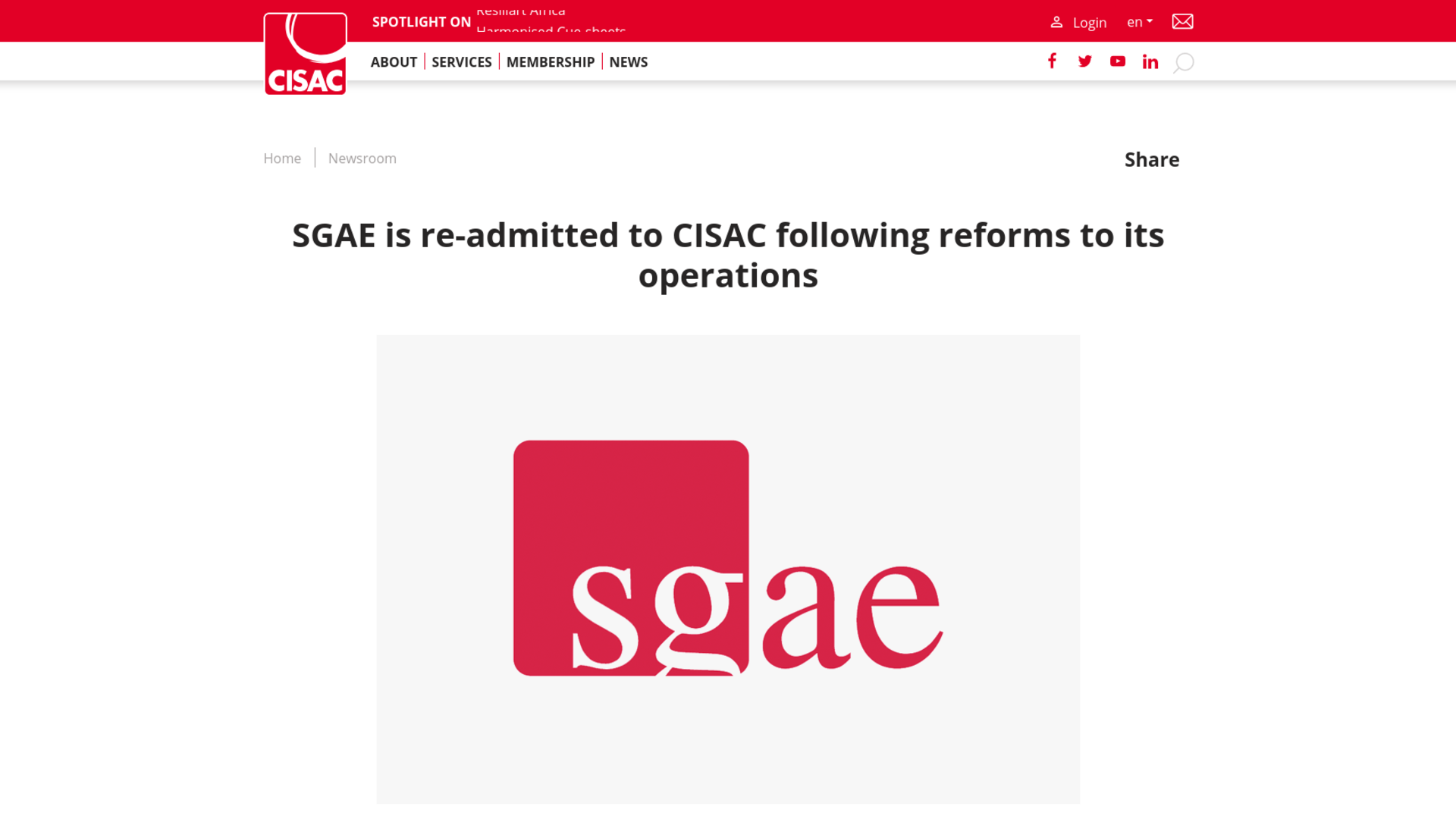Fairness Rocks News SGAE is re-admitted to CISAC following reforms to its operations