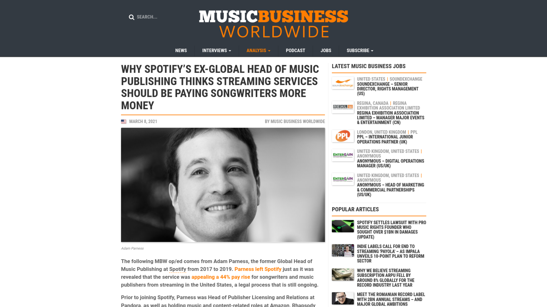 Fairness Rocks News Why Spotify's ex-Global Head of Music Publishing thinks streaming services should be paying songwriters more money