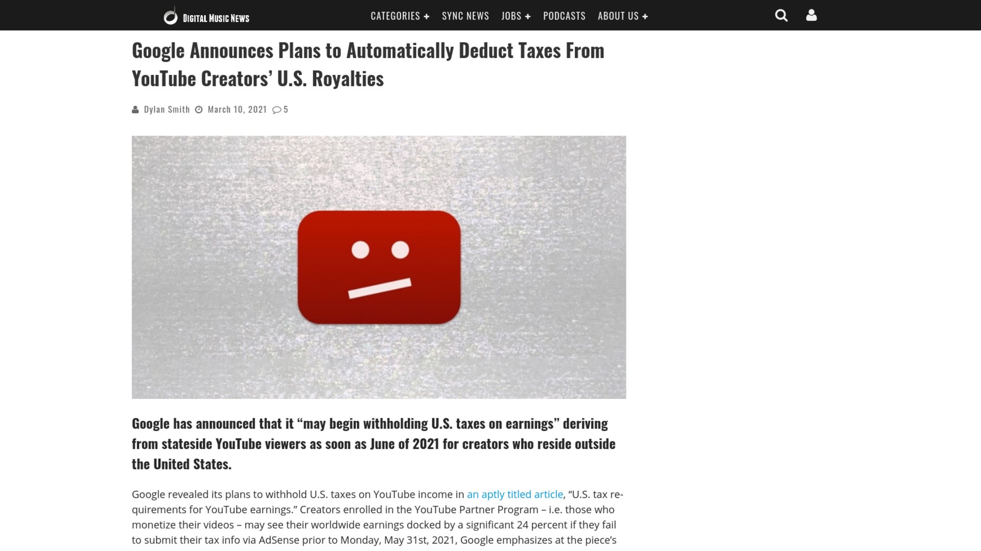 Fairness Rocks News Google Announces Plans to Automatically Deduct Taxes From YouTube Creators' U.S. Royalties