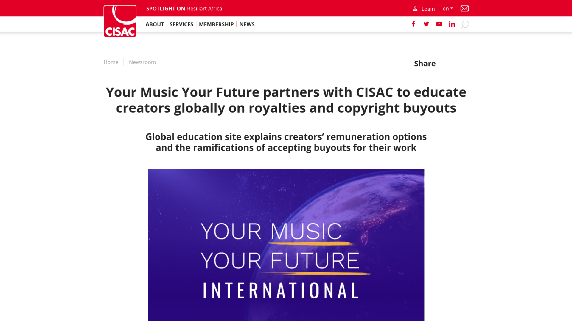 Fairness Rocks News Your Music Your Future partners with CISAC to educate creators globally on royalties and copyright buyouts