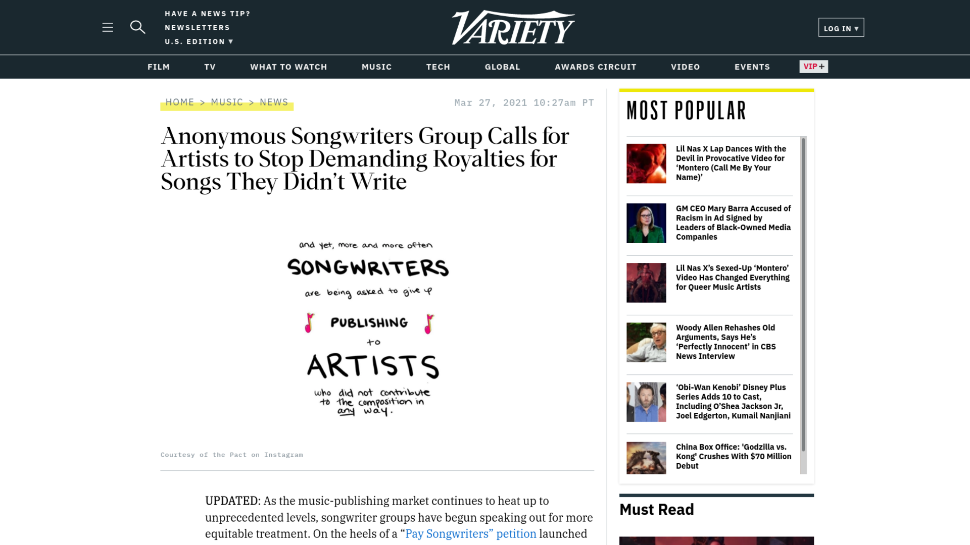 Fairness Rocks News Anonymous Songwriters Group Calls for Artists to Stop Demanding Royalties for Songs They Didn't Write