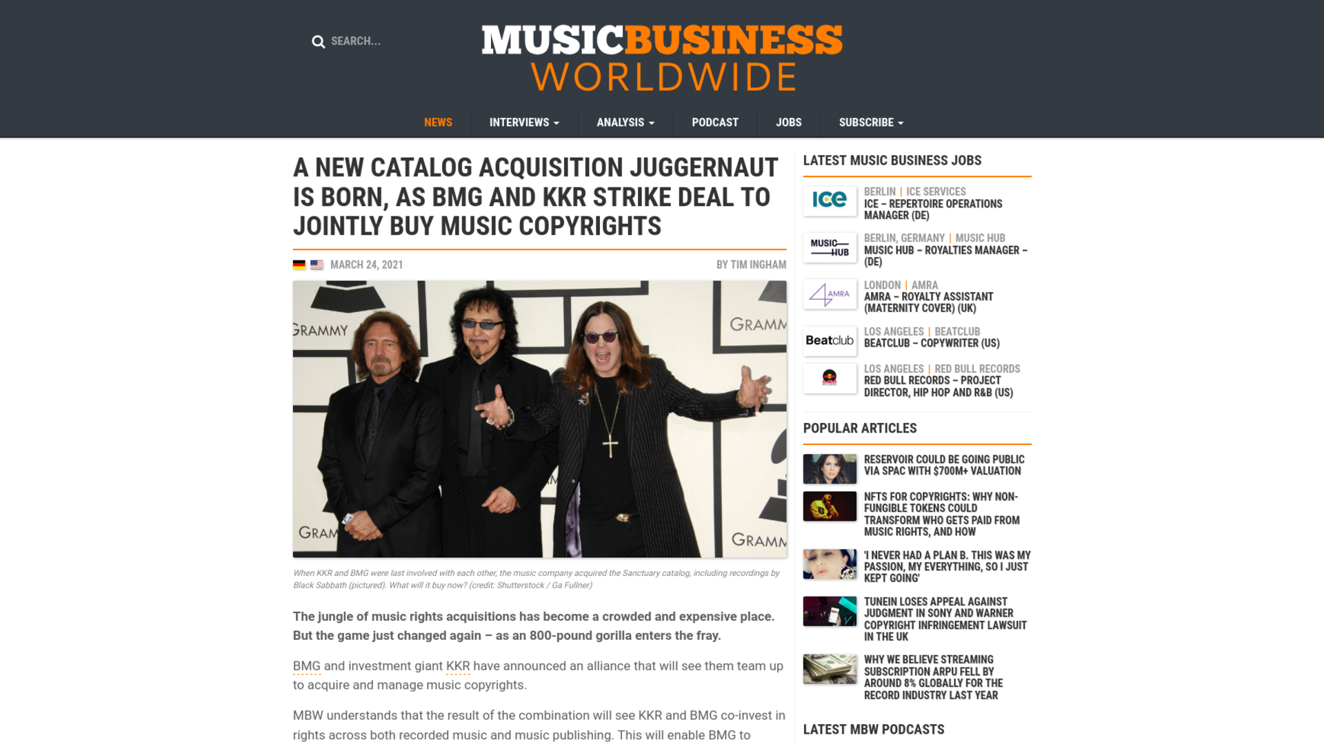 Fairness Rocks News A new catalog acquisition juggernaut is born, as BMG and KKR strike deal to jointly buy music copyrights