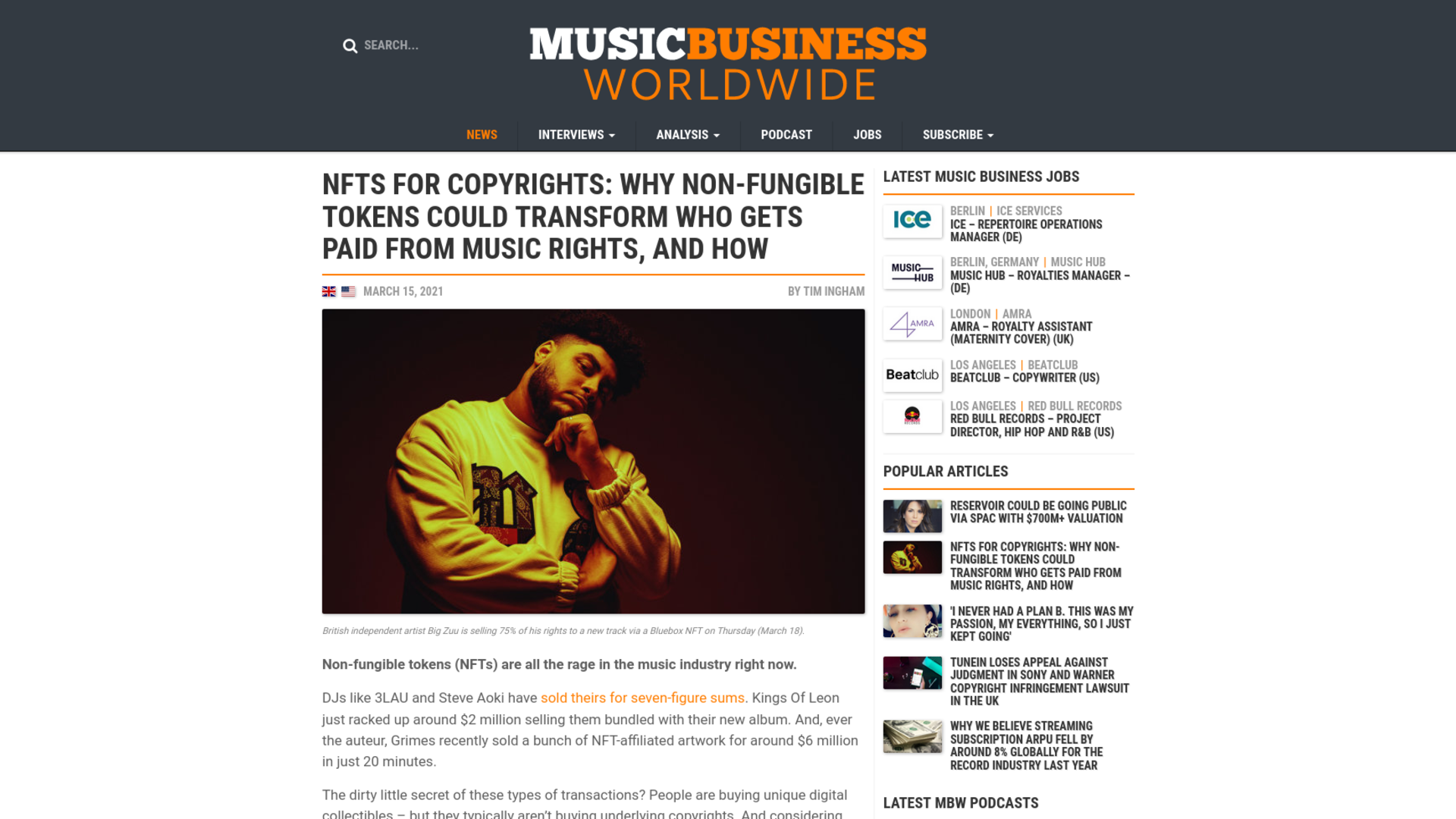 Fairness Rocks News NFTs for copyrights: Why non-fungible tokens could transform who gets paid from music rights, and how