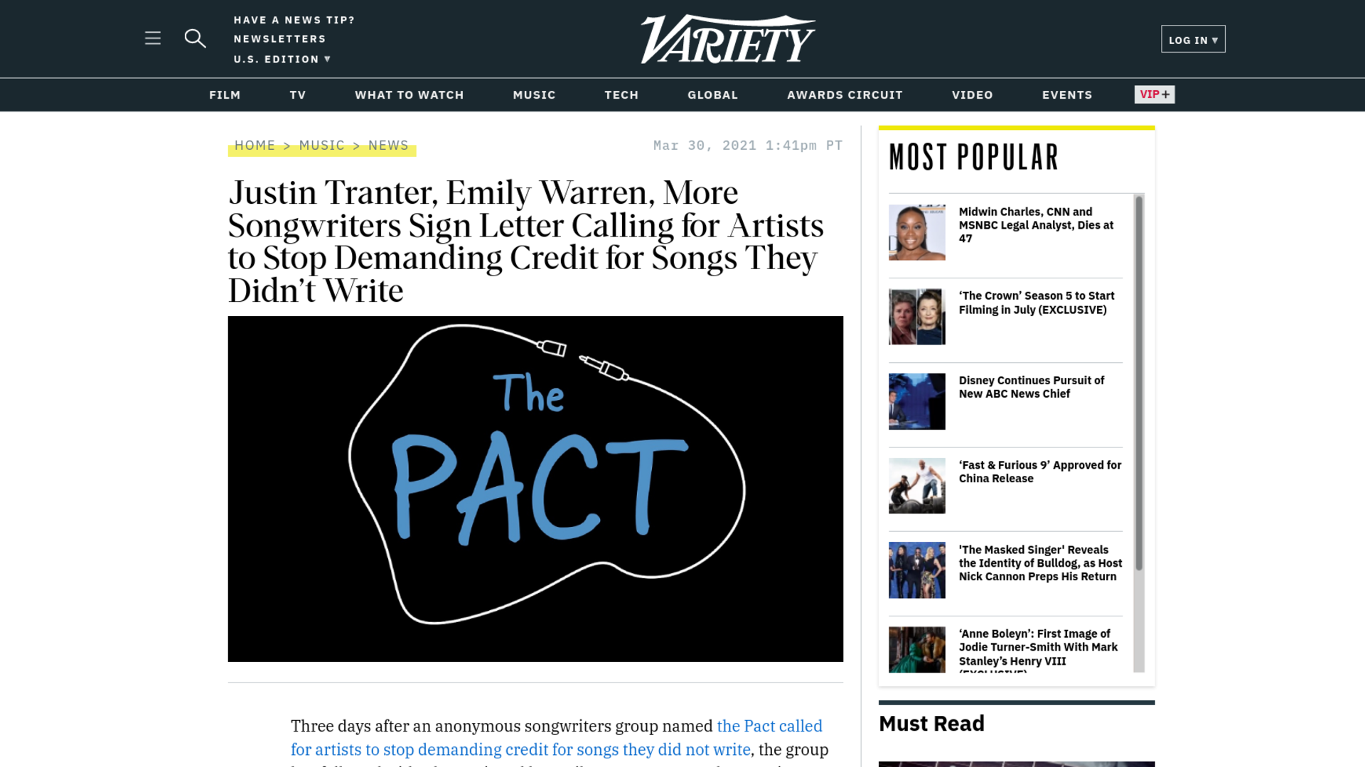 Fairness Rocks News Justin Tranter, Emily Warren, More Songwriters Sign Letter Calling for Artists to Stop Demanding Credit for Songs They Didn't Write