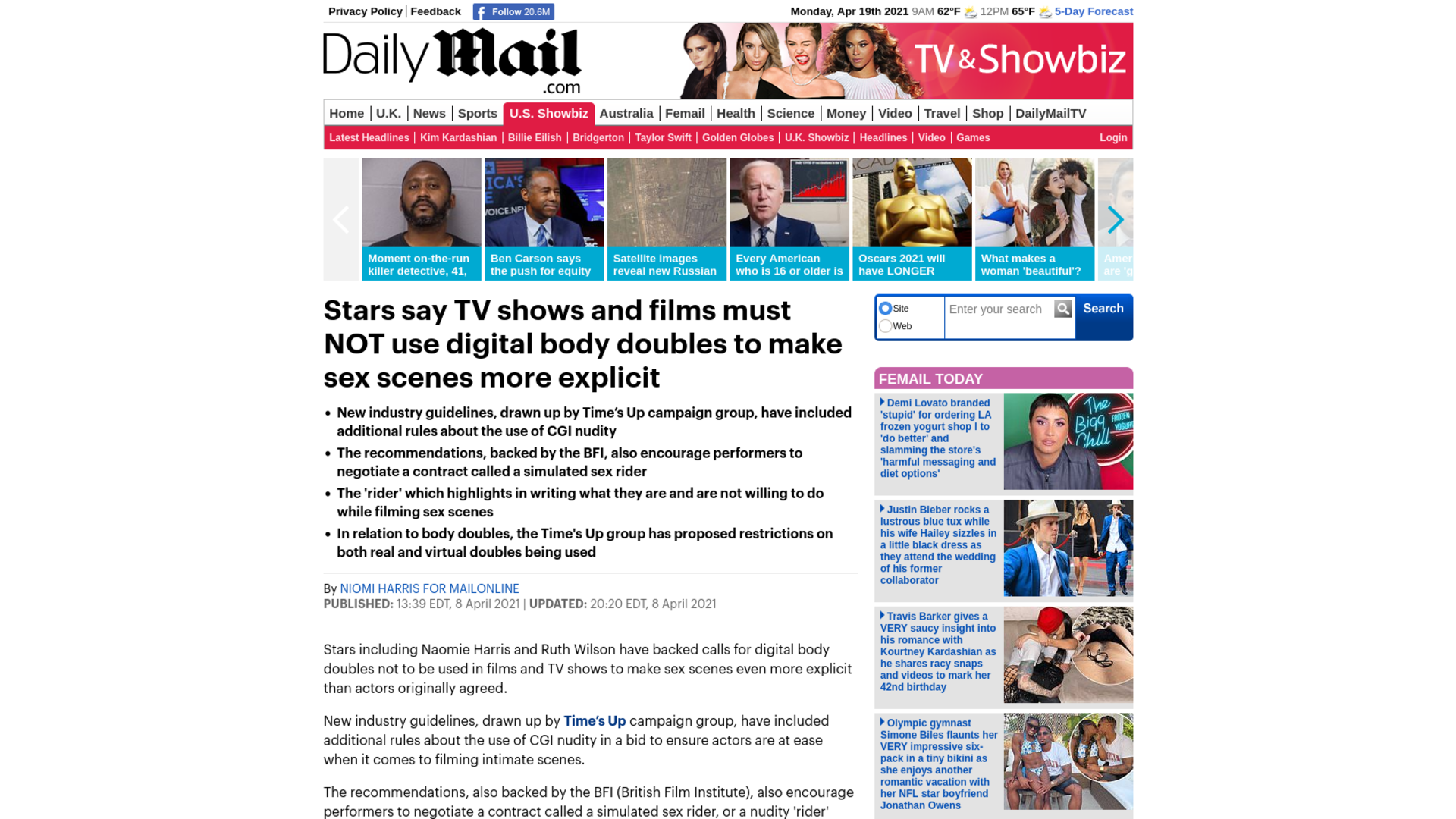 Fairness Rocks News Stars say TV shows and films must NOT use digital body doubles to make sex scenes more explicit