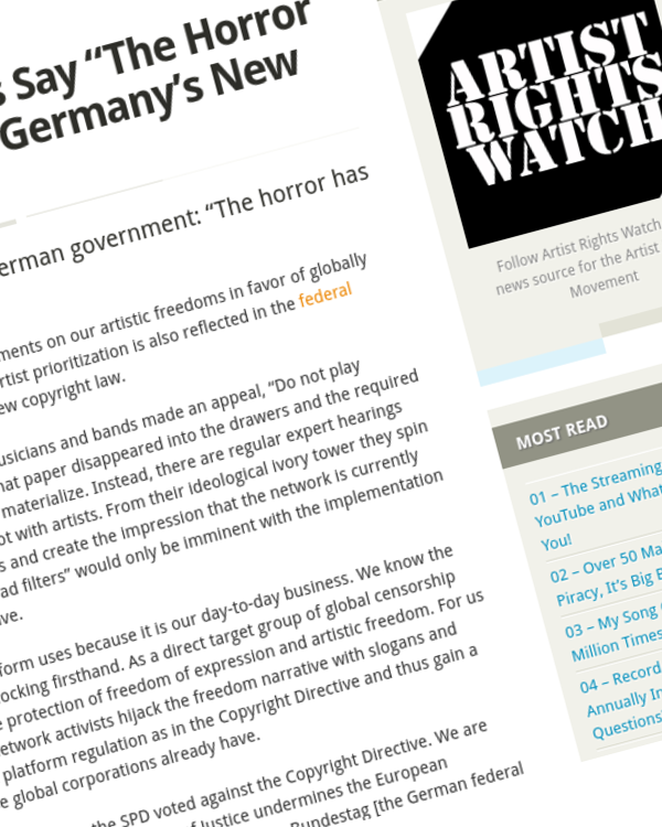 """Fairness Rocks News 1100 German Artists Say """"The Horror Has No End"""" About Germany's New Copyright Law"""