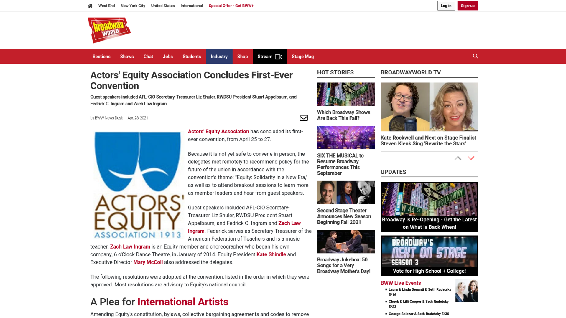 Fairness Rocks News Actors' Equity Association Concludes First-Ever Convention