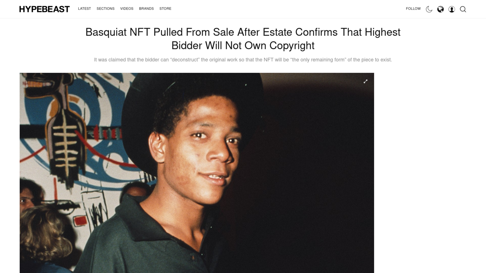 Fairness Rocks News Basquiat NFT Pulled From Sale After Estate Confirms That Highest Bidder Will Not Own Copyright
