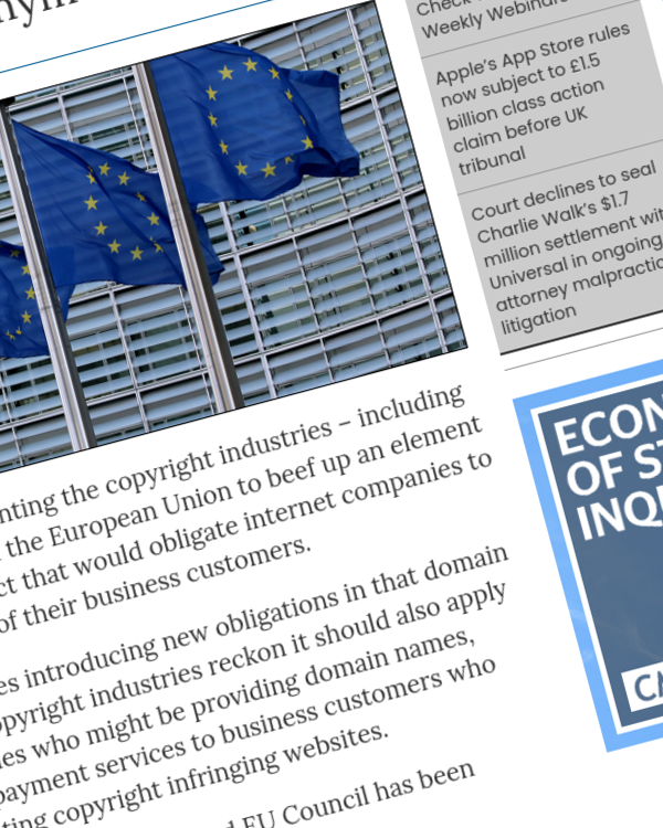 Fairness Rocks News Copyright groups say European Union's Digital Services Act should do more to stop piracy sites operating anonymously