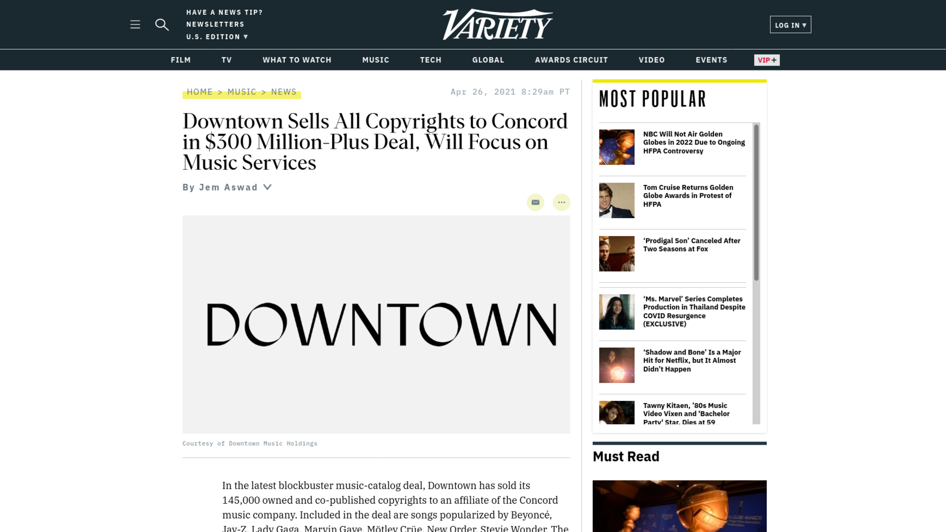 Fairness Rocks News Downtown Sells All Copyrights to Concord in $300 Million-Plus Deal, Will Focus on Music Services