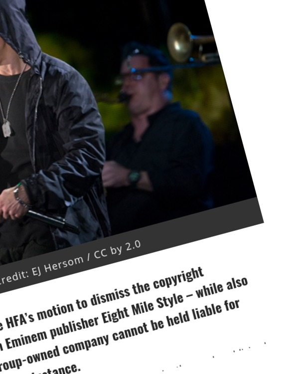 Fairness Rocks News HFA Can't Duck Out of the Eminem Publisher Lawsuit, Judge Rules