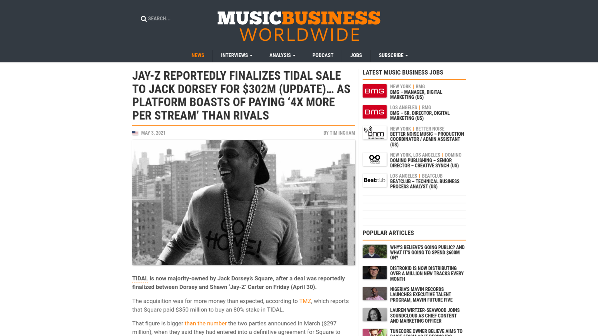 Fairness Rocks News Jay-Z reportedly finalizes TIDAL sale to Jack Dorsey for $302m (UPDATE)… as platform boasts of paying '4X more per stream' than rivals