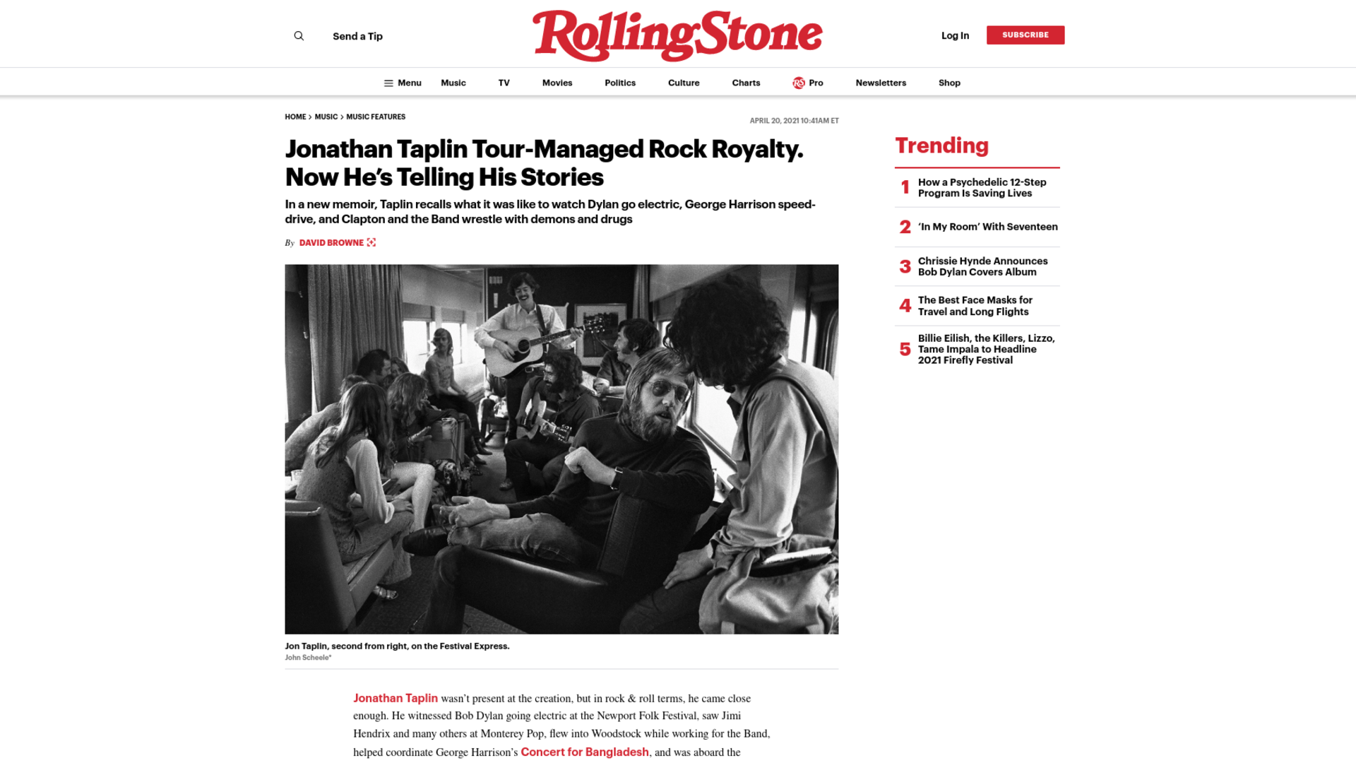 Fairness Rocks News Jonathan Taplin Tour-Managed Rock Royalty. Now He's Telling His Stories