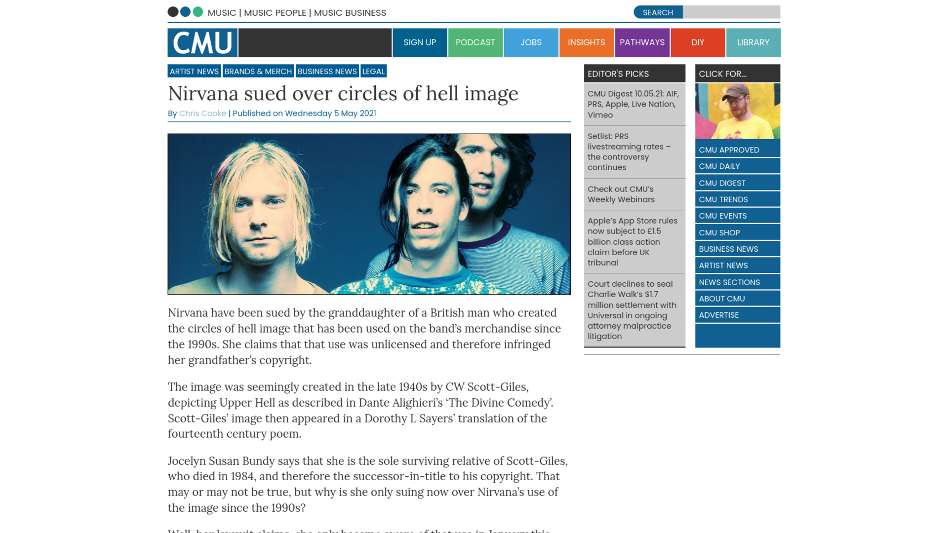 Fairness Rocks News Nirvana sued over circles of hell image