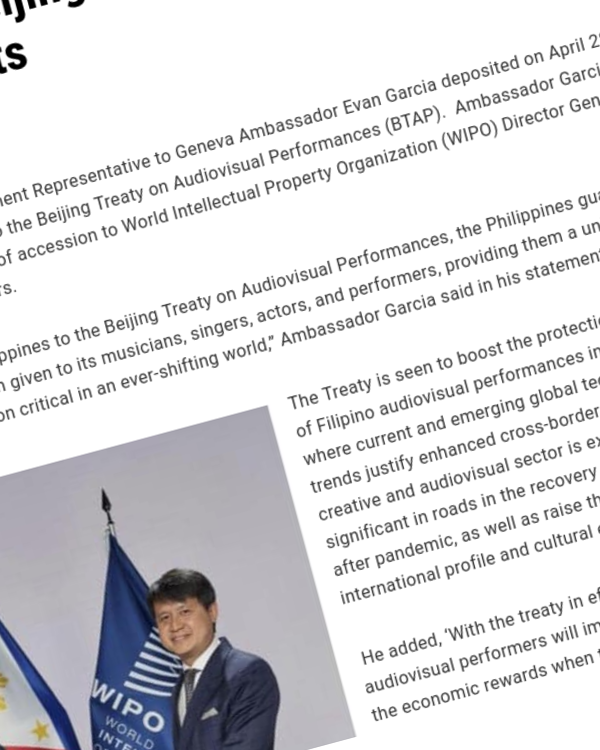 Fairness Rocks News PH accedes to Beijing Treaty strengthening performers' rights