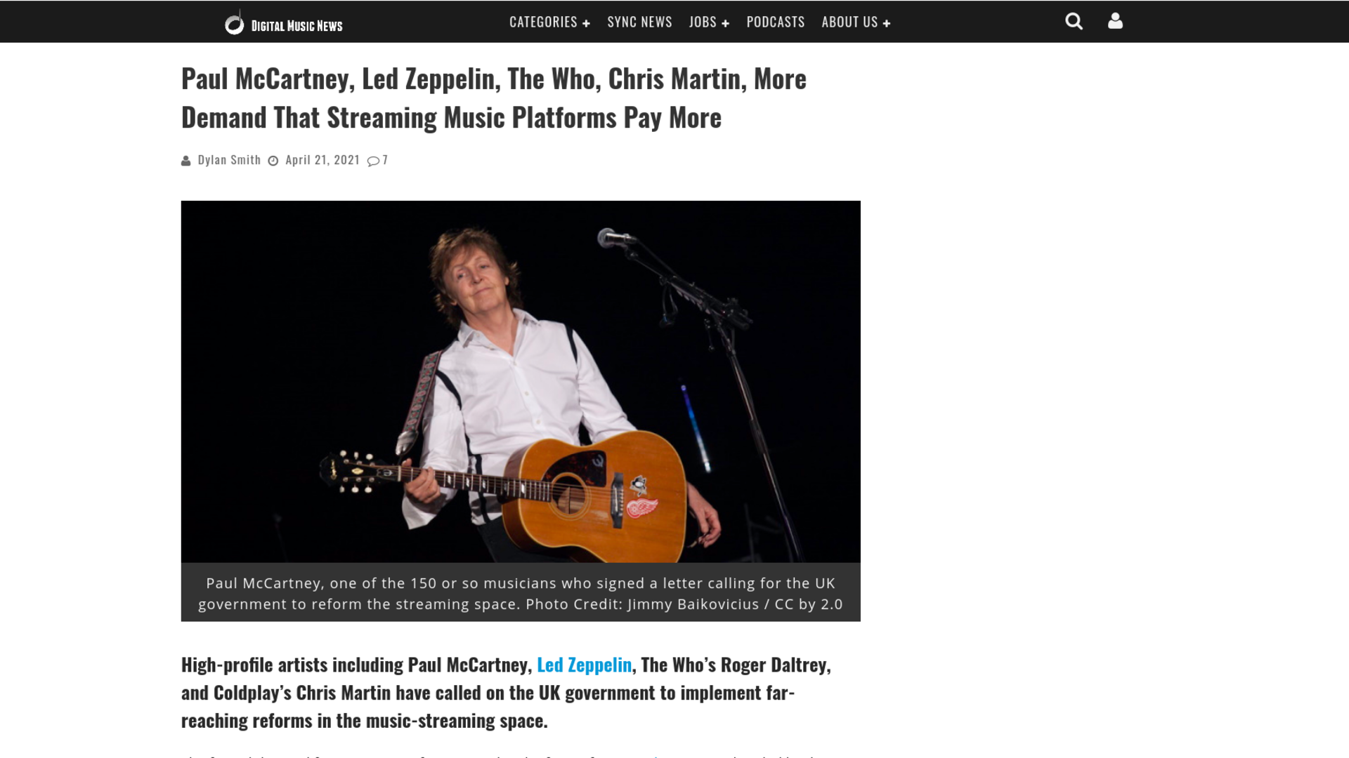 Fairness Rocks News Paul McCartney, Led Zeppelin, The Who, Chris Martin, More Demand That Streaming Music Platforms Pay More