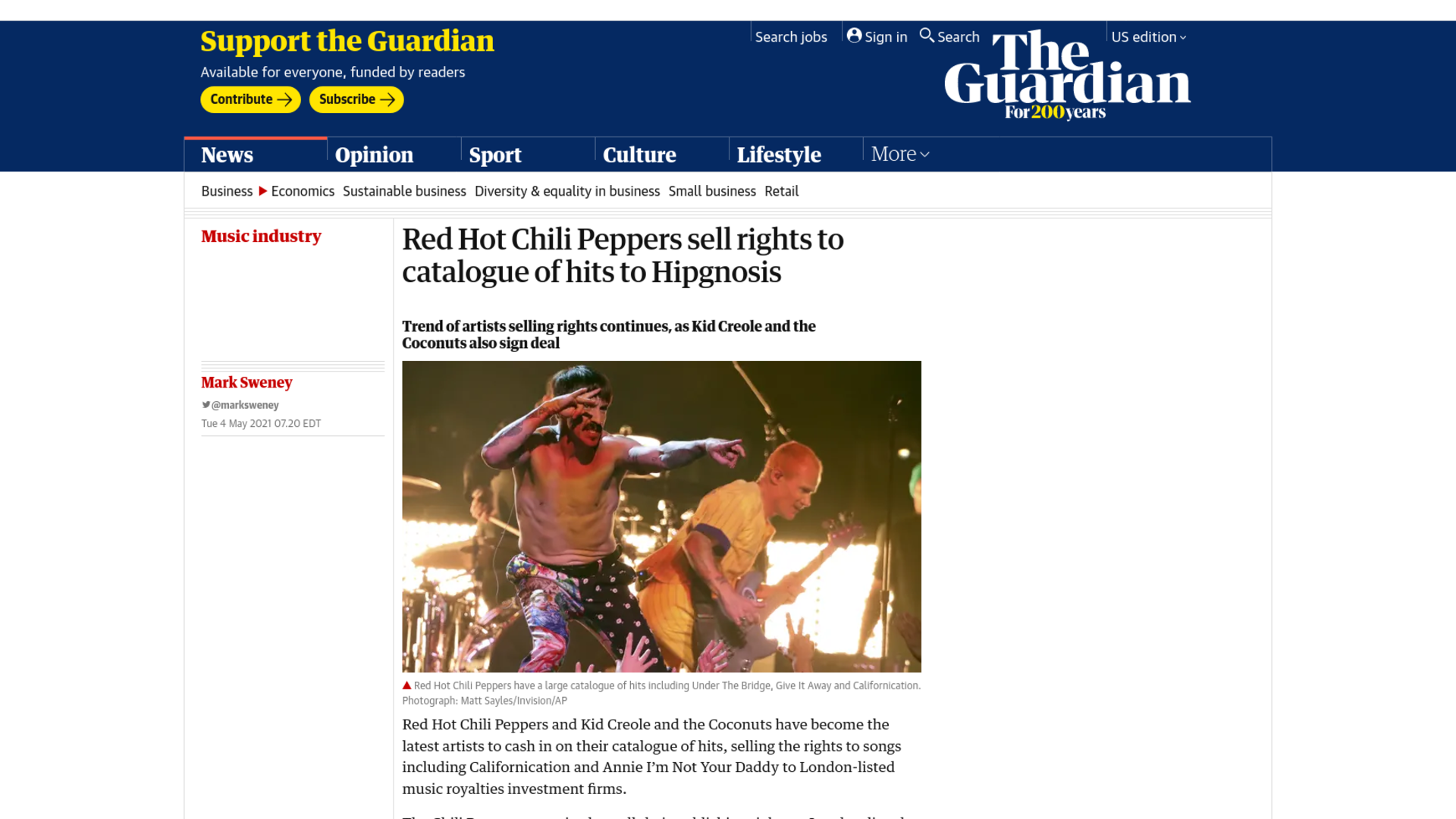 Fairness Rocks News Red Hot Chili Peppers sell rights to catalogue of hits to Hipgnosis