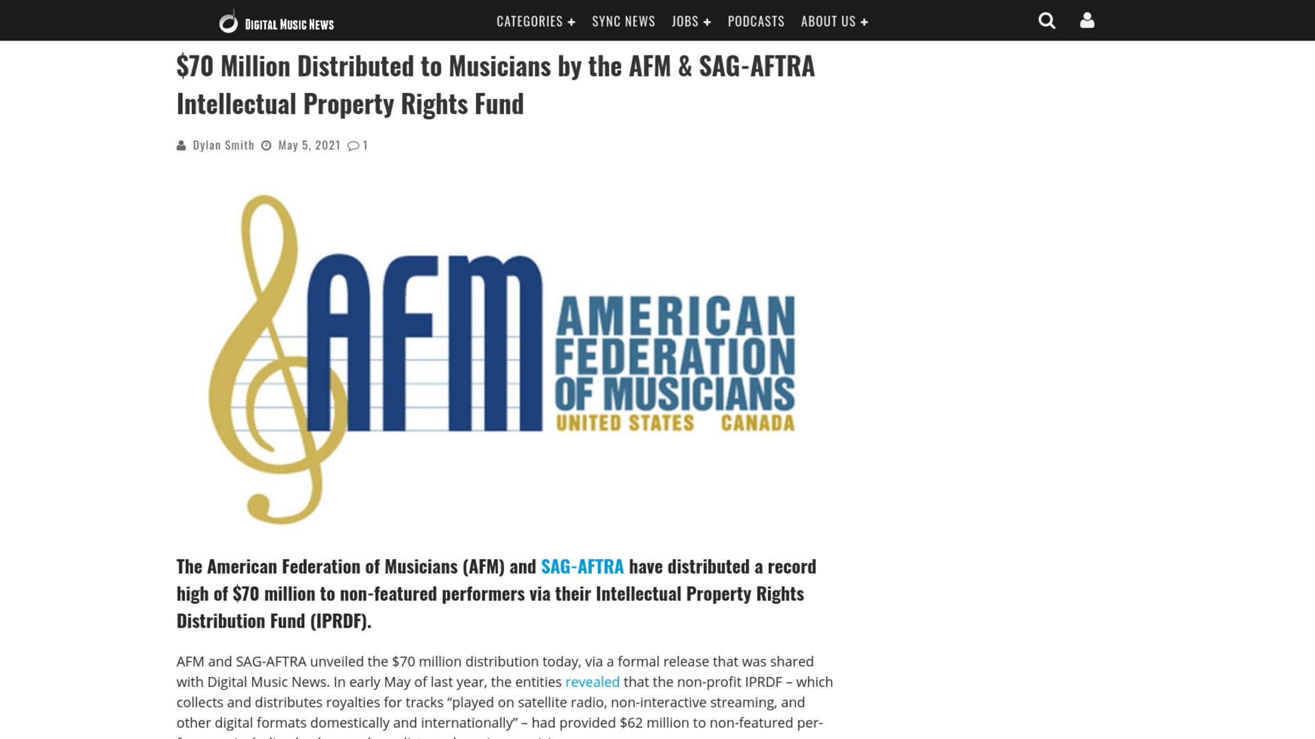 Fairness Rocks News $70 Million Distributed to Musicians by the AFM & SAG-AFTRA Intellectual Property Rights Fund