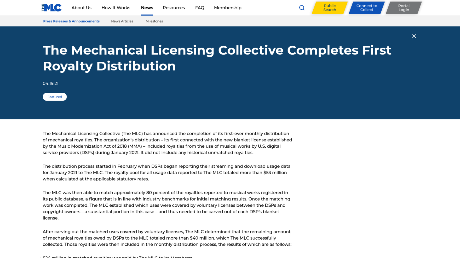 Fairness Rocks News The Mechanical Licensing Collective Completes First Royalty Distribution