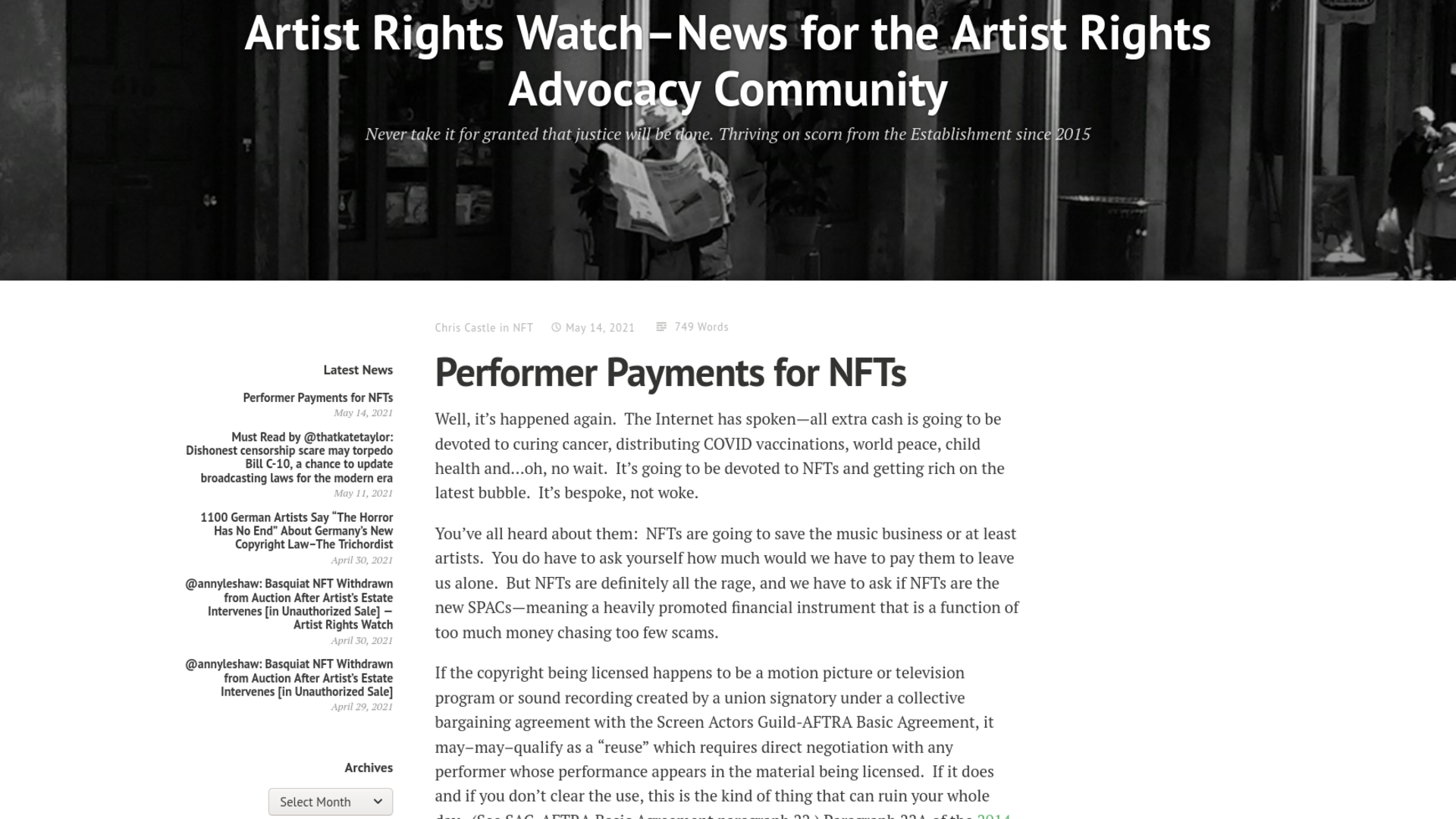 Fairness Rocks News Performer Payments for NFTs