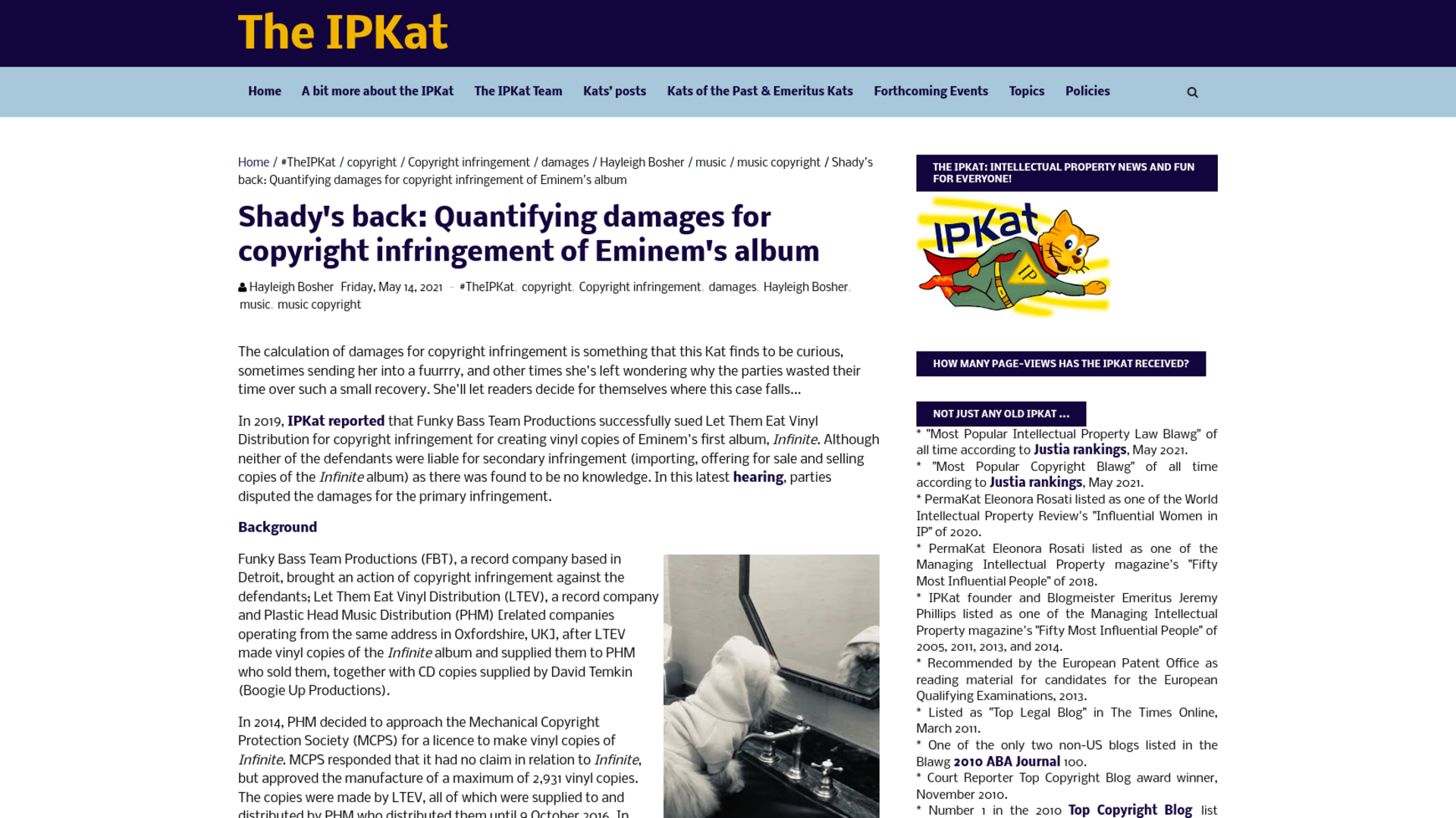 Fairness Rocks News Shady's back: Quantifying damages for copyright infringement of Eminem's album