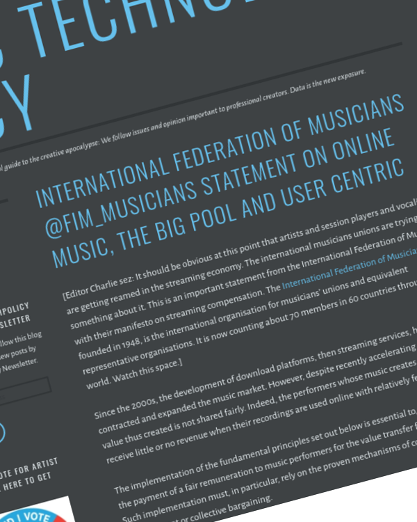 Fairness Rocks News International Federation of Musicians @fim_musicians Statement on Online Music, the Big Pool and User Centric