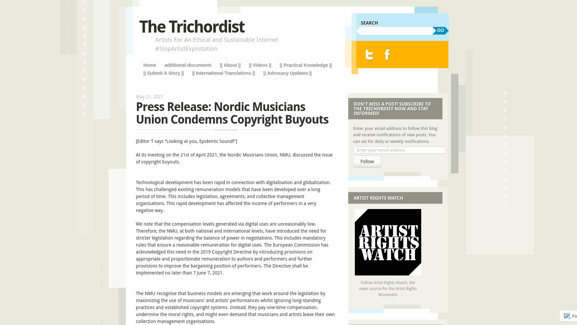Fairness Rocks News Press Release: Nordic Musicians Union Condemns Copyright Buyouts