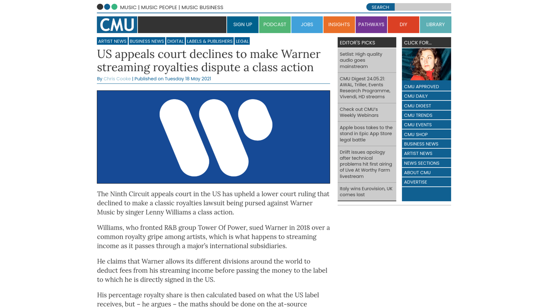 Fairness Rocks News US appeals court declines to make Warner streaming royalties dispute a class action