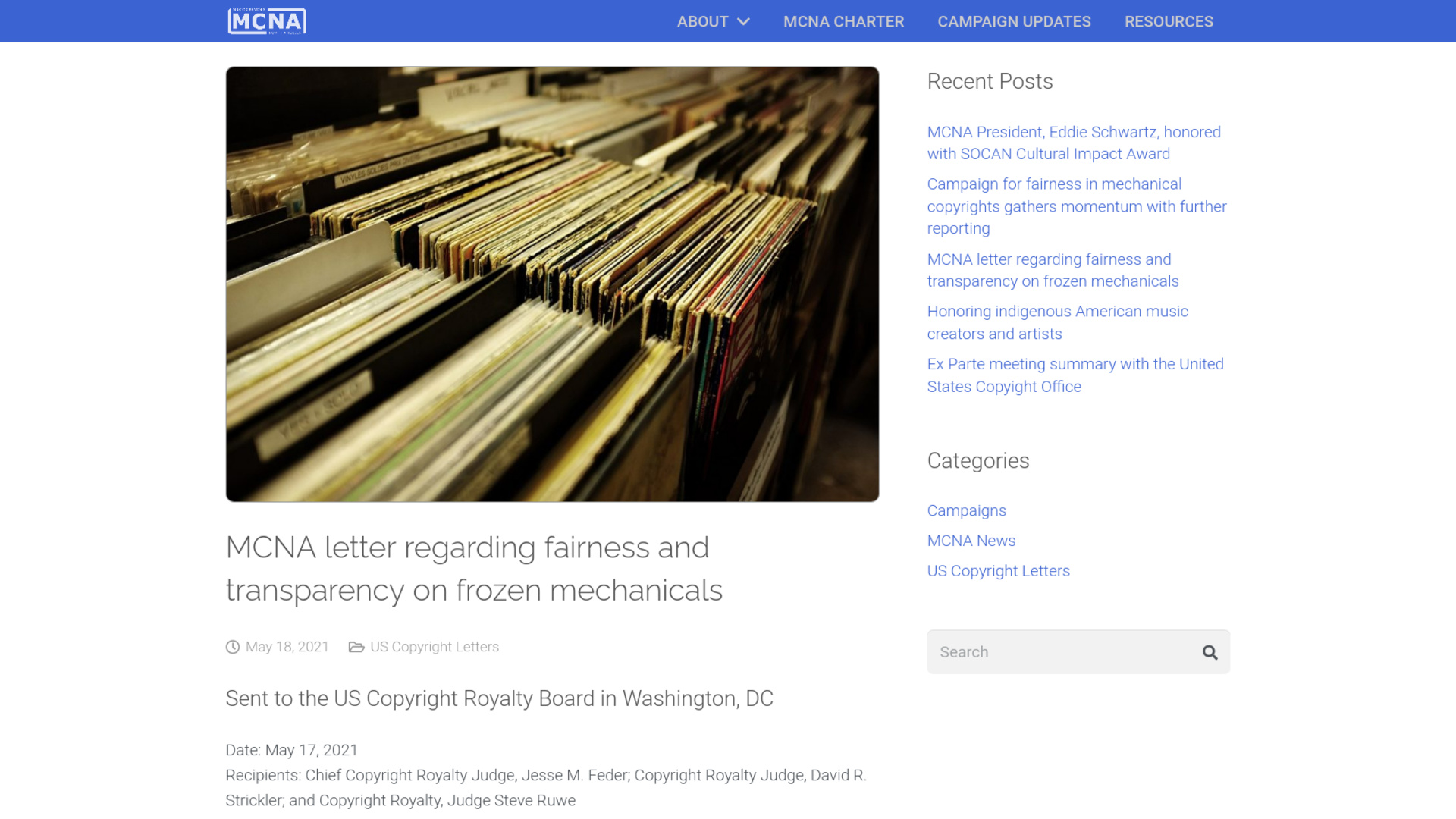 Fairness Rocks News MCNA letter regarding fairness and transparency on frozen mechanicals