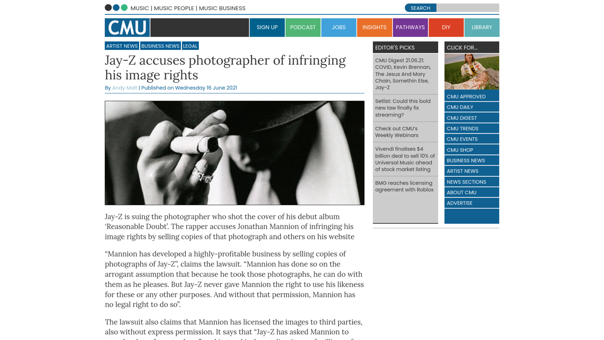 Fairness Rocks News Jay-Z accuses photographer of infringing his image rights