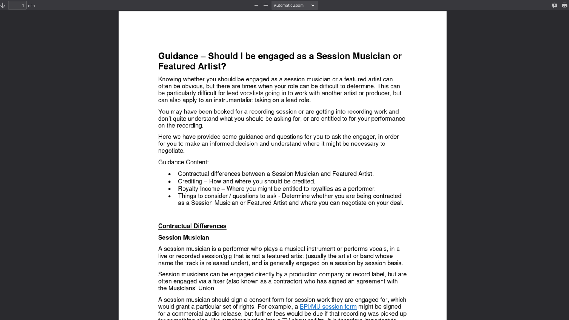 Fairness Rocks News Guidance –Should I be engaged as a Session Musician or Featured Artist?