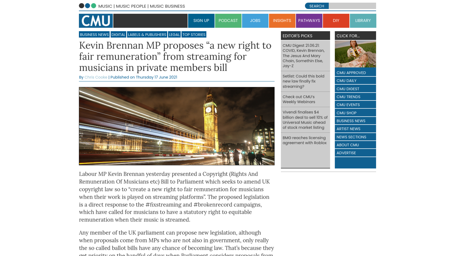"""Fairness Rocks News Kevin Brennan MP proposes """"a new right to fair remuneration"""" from streaming for musicians in private members bill"""