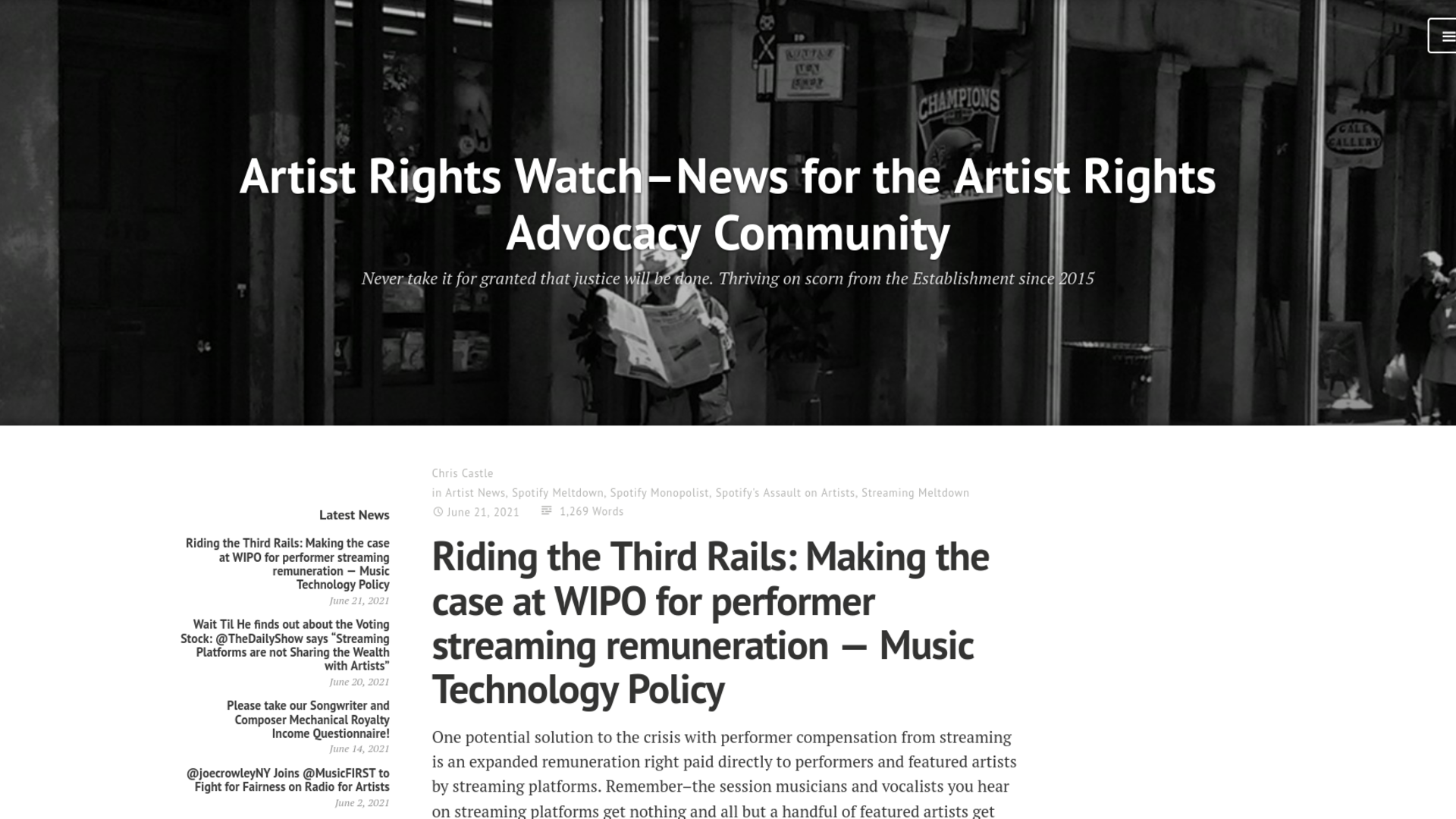 Fairness Rocks News Riding the Third Rails: Making the case at WIPO for performer streaming remuneration — Music Technology Policy