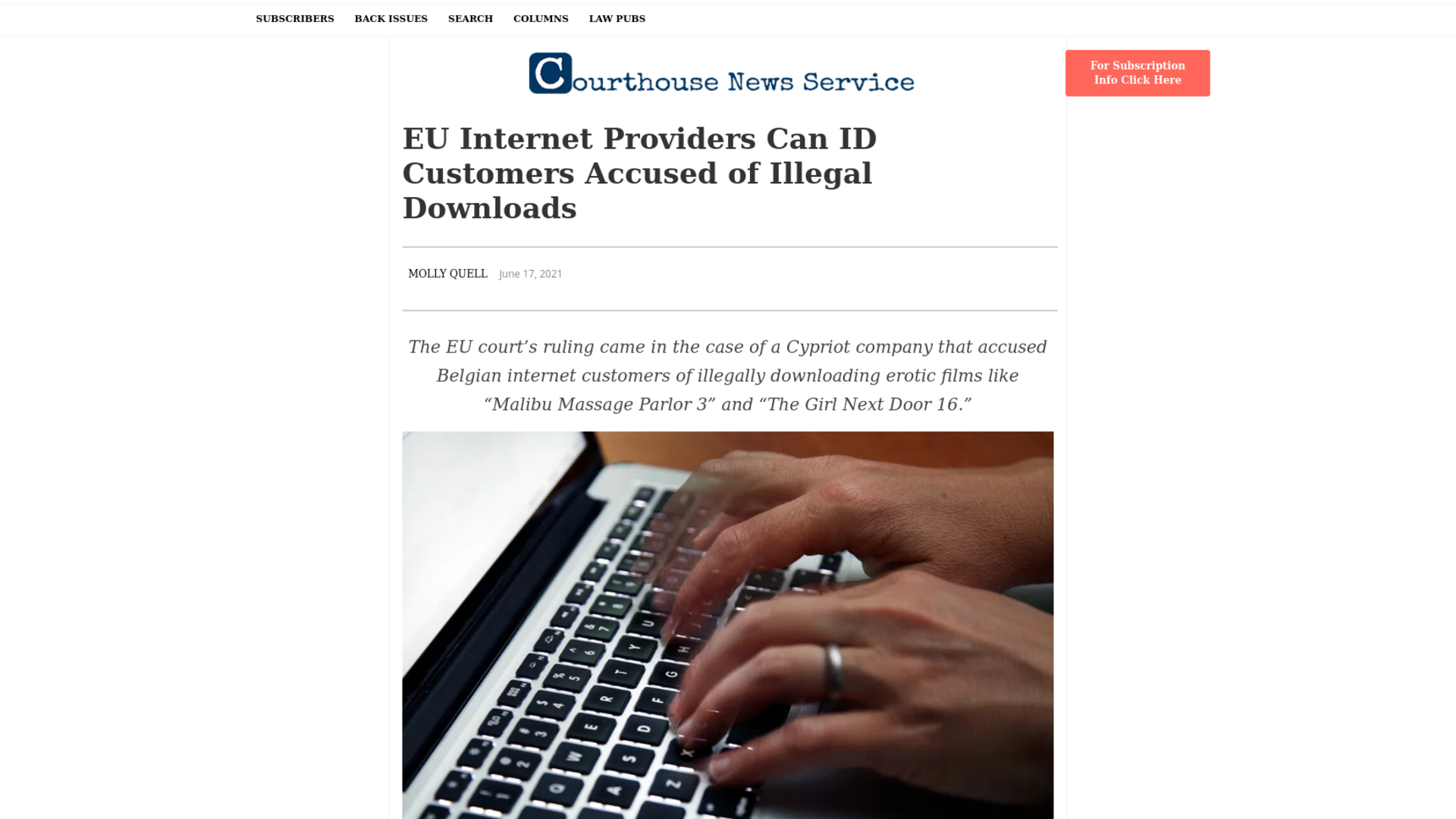 Fairness Rocks News EU Internet Providers Can ID Customers Accused of Illegal Downloads
