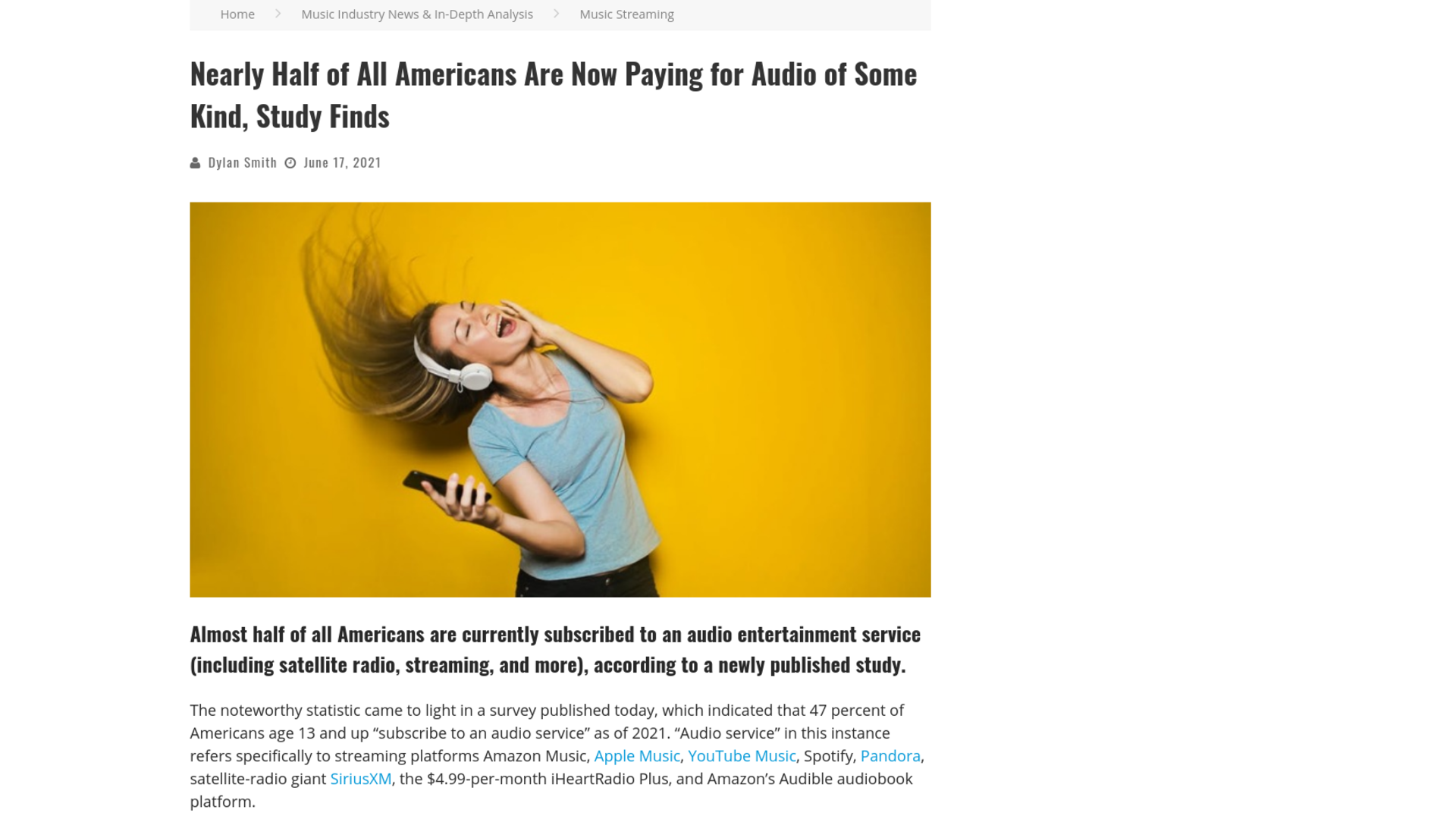 Fairness Rocks News Nearly Half of All Americans Are Now Paying for Audio of Some Kind, Study Finds