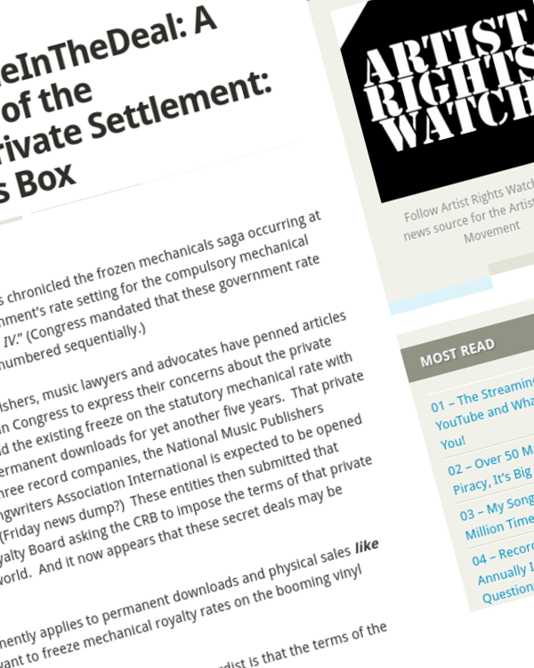 Fairness Rocks News A Foreseeable Result of the Phonorecords IV Private Settlement: Opening Pandora's Box