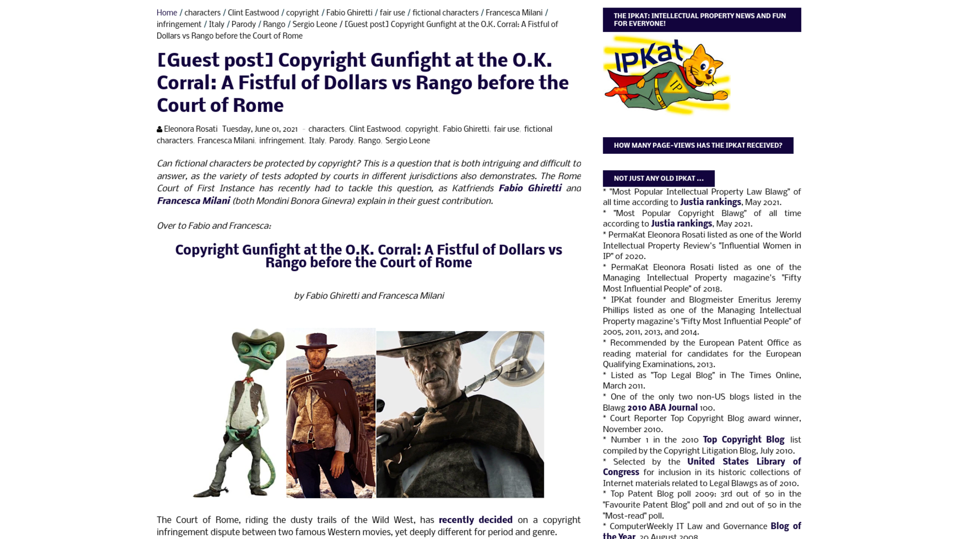 Fairness Rocks News Copyright Gunfight at the O.K. Corral: A Fistful of Dollars vs Rango before the Court of Rome