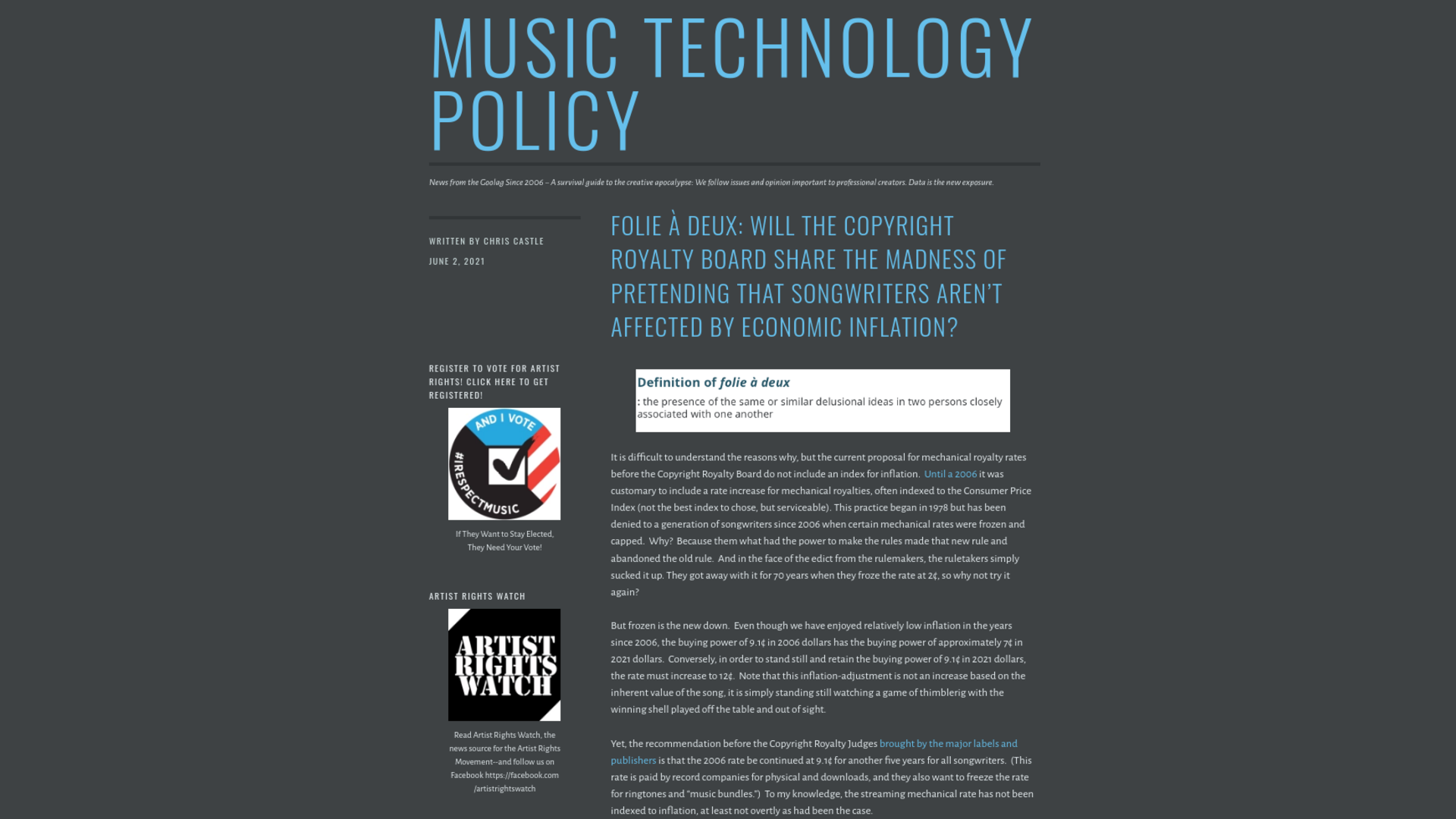 Fairness Rocks News Folie à deux: Will the Copyright Royalty Board Share the Madness of Pretending That Songwriters Aren't Affected by Economic Inflation?