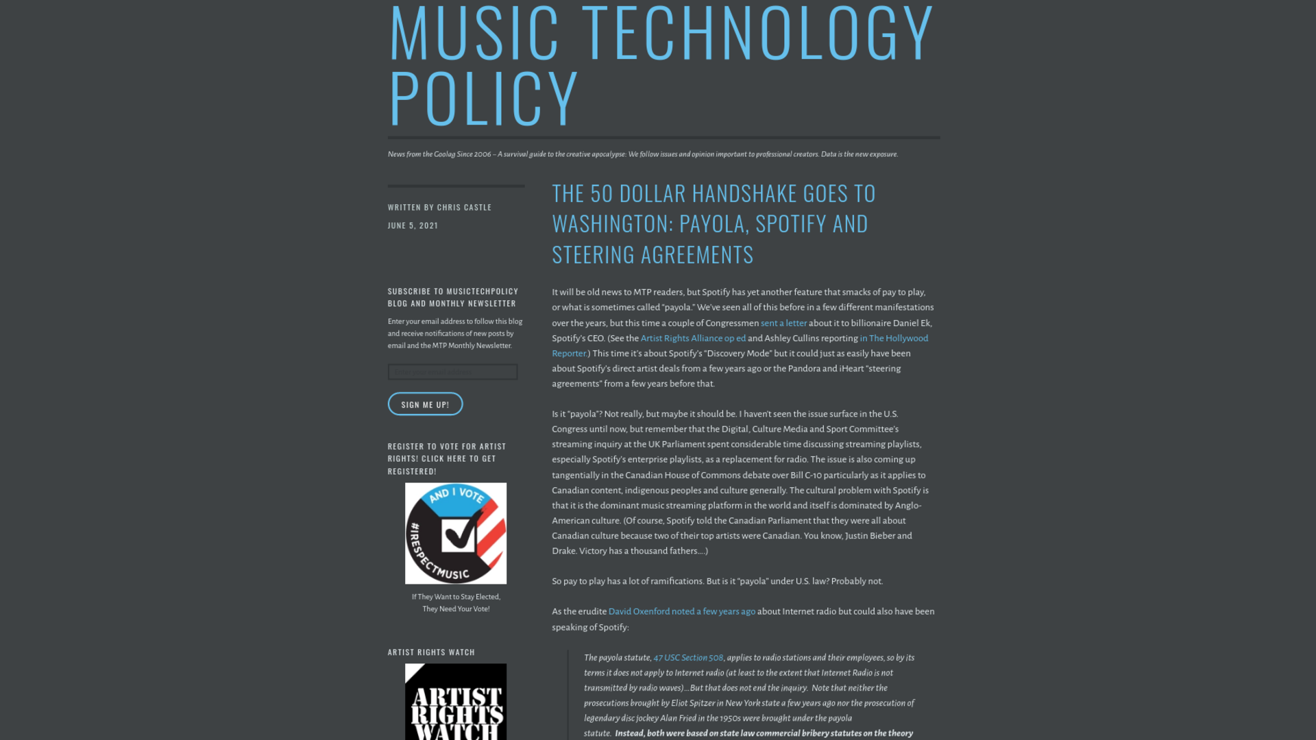 Fairness Rocks News The 50 Dollar Handshake Goes to Washington: Payola, Spotify and Steering Agreements