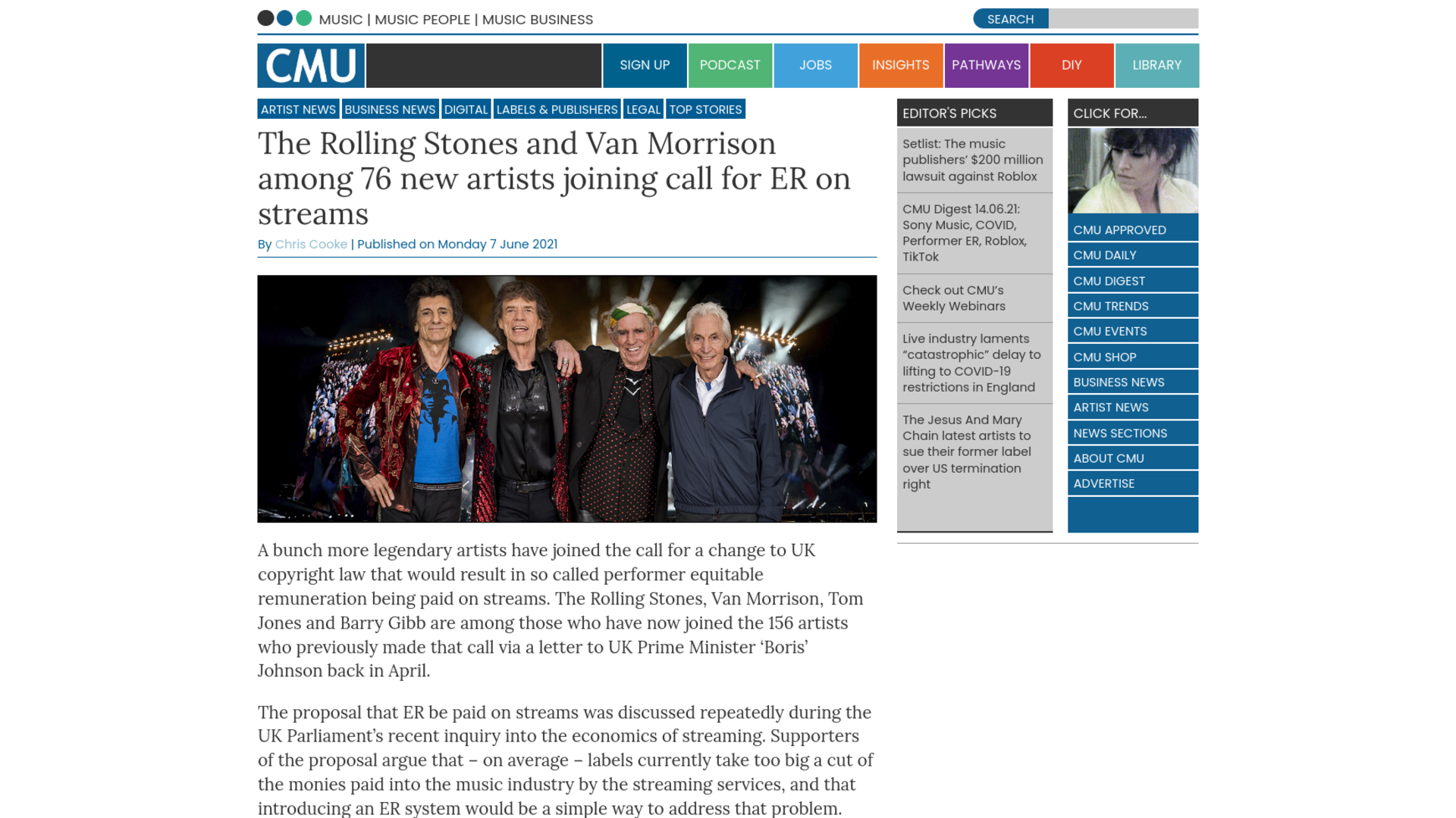 Fairness Rocks News The Rolling Stones and Van Morrison among 76 new artists joining call for ER on streams