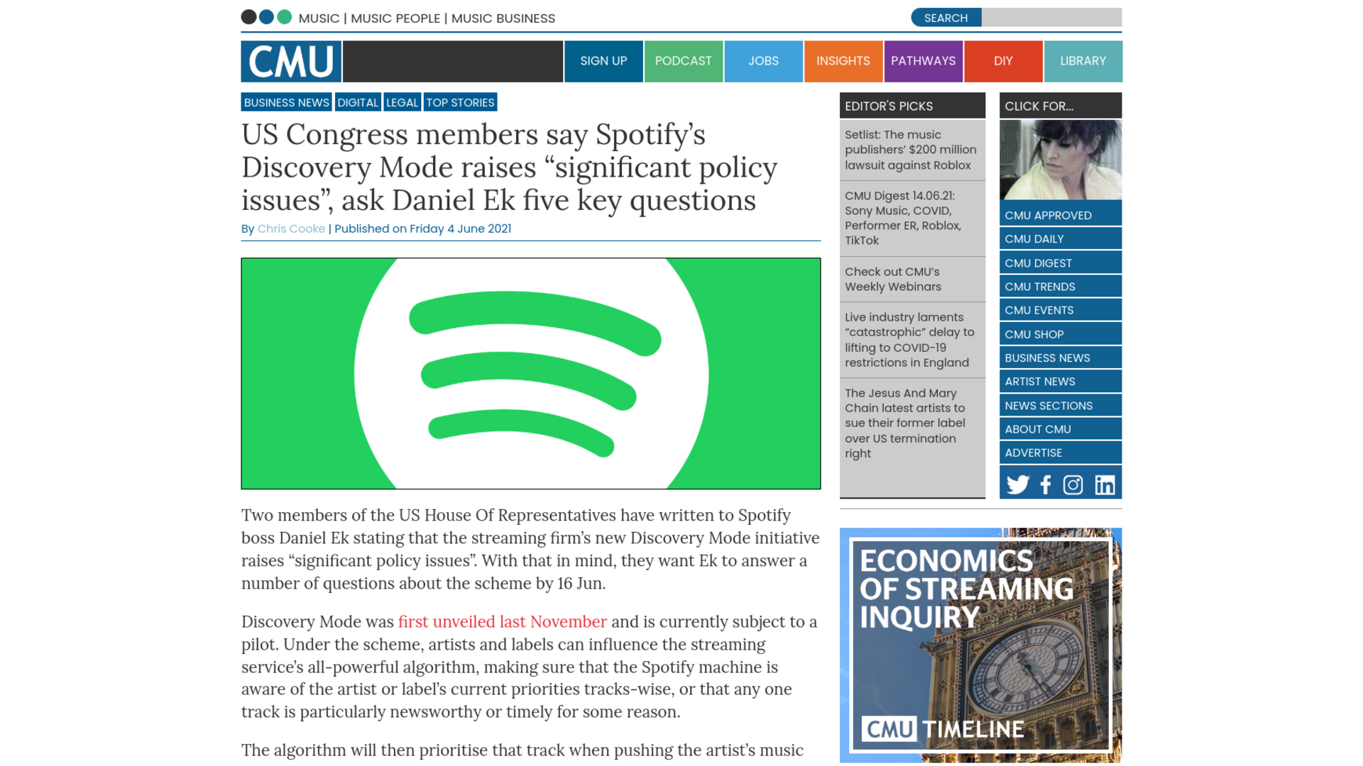 """Fairness Rocks News US Congress members say Spotify's Discovery Mode raises """"significant policy issues"""", ask Daniel Ek five key questions"""
