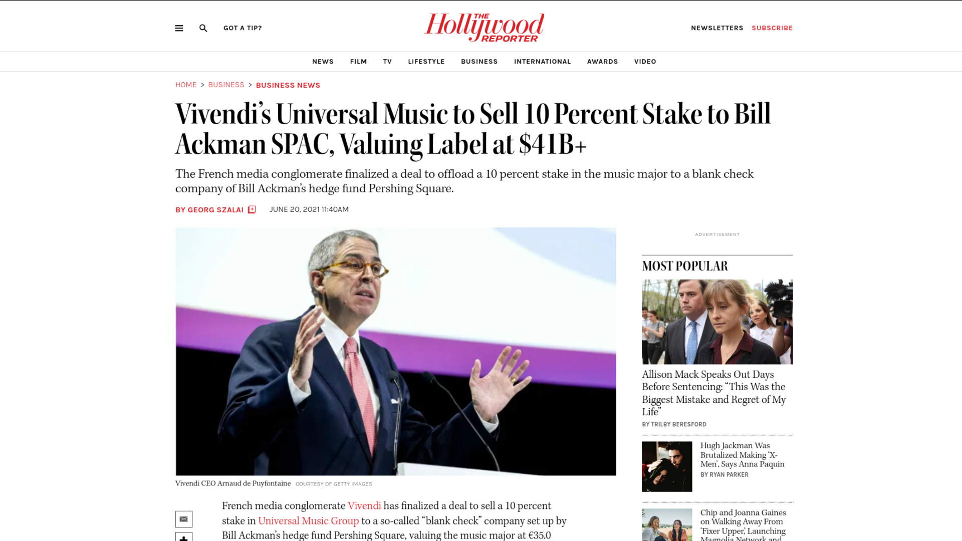 Fairness Rocks News Vivendi's Universal Music to Sell 10 Percent Stake to Bill Ackman SPAC, Valuing Label at $41B+