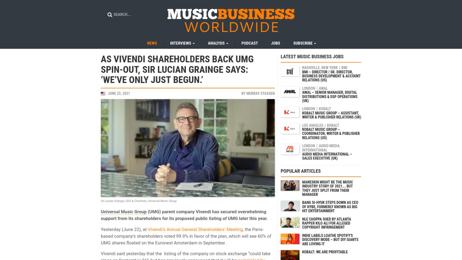 Fairness Rocks News As Vivendi shareholders back UMG spin-out, Sir Lucian Grainge says: 'We've only just begun.'